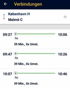 Mit dem Zug nach Malmö