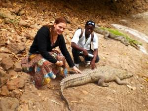 Foto mit einem Krokodil