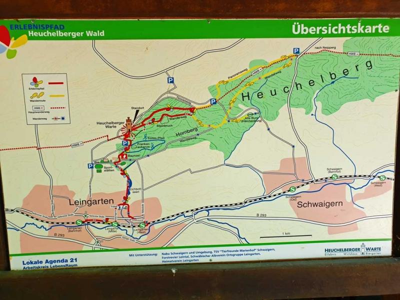 Übersichtskarte: Erlebnispfad Heuchelberger Wald